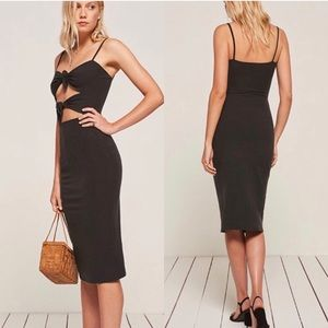 REFORMATION Ibiza Cut-out Bodycon Dress Charcoal